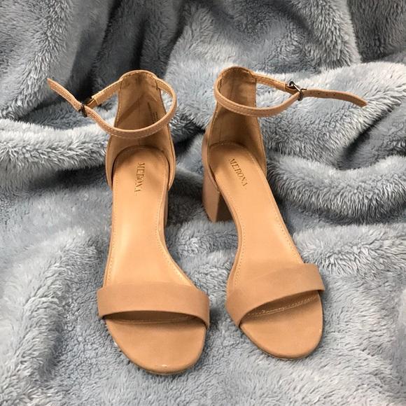7462fab097 Merona Shoes | Marcella Block Heel Sandal Pumps Tan | Poshmark